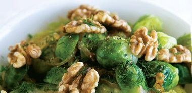 Caramelized Fennel and Onions with Brussels Sprouts and Toasted Walnuts