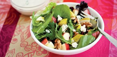 Apple, Pear, and Walnut Salad with Blue Cheese Dressing