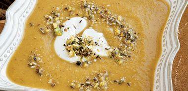 Squash Lentil Soup with Dukkah