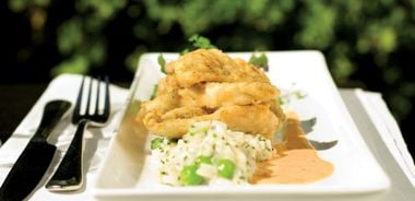 Perch with Sweet Pea Risotto
