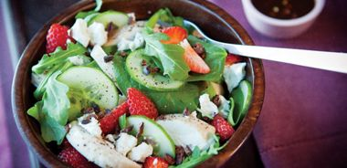Greens and Strawberry Salad with Chocolate Vinaigrette