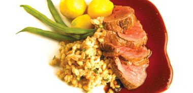 Roasted Bison Tenderloin with Merlot Sauce and Faro Risotto