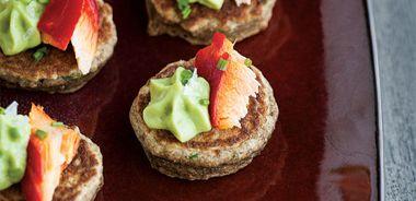 Smoked Salmon Blini with Avocado Mousse