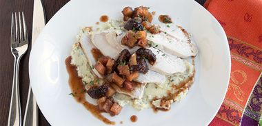Turkey with Apple Fig Chutney and Parsnip Purée