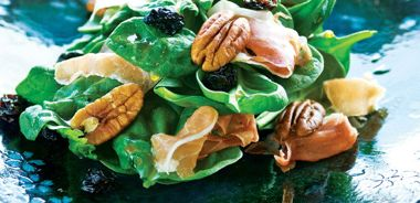 Spinach Salad with Prosciutto, Pecans and Dried Cherries