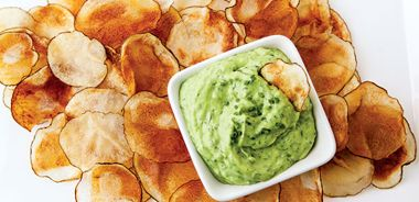 Baked Potato Chips with Emerald Dip