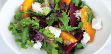 Steamed Beetroot and Goat Cheese Salad
