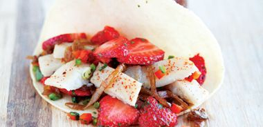 Fish Tacos with Strawberry Salsa and Beer Caramelized Onions