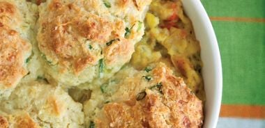 Braised Vegetables Pot Pie with Cheddar Biscuits