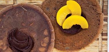 Cocoa Buckwheat Peach Crepes with Chocolate Cashew Ganache