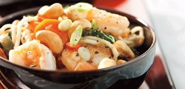 Kung Pao Shrimp and Long Noodles