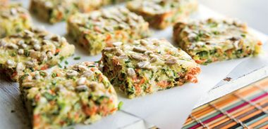Cheesy Zucchini and Carrot Squares