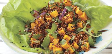 Asian Butter Lettuce Salad with Quinoa and Diced Butternut Squash