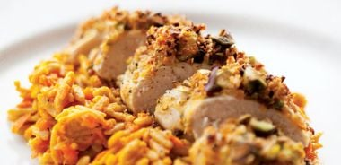 Carrot Orzo with Pistachio and Tarragon-Crusted Chicken