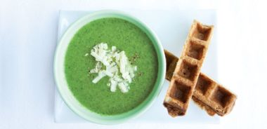Cheesy Waffle Soldiers with Broccoli Soup