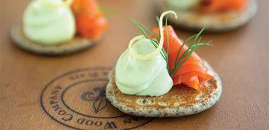 Blinis with Avocado Yogurt and Smoked Salmon