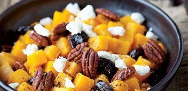 Orange Glazed Butternut and Herbed Pecans
