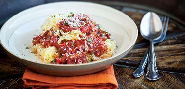Spaghetti Squash with Turkey Tomato Sauce