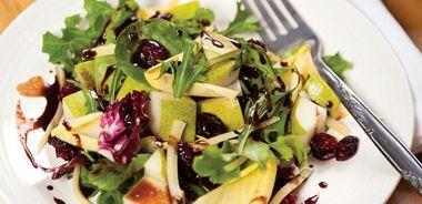 Pear Salad with Carob Dressing