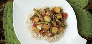 Sweet and Sour Tofu with Cactus