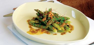 Grilled Green Asparagus with Maple Mustard Vinaigrette