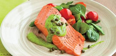 Poached Wild Salmon with Avocado Chive Cream and Sugar Snaps