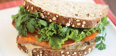Sunflower Butter Sandwich with Honey-Roasted Sweet Potato