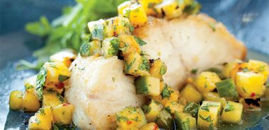 Grilled Black Cod with Spicy Pineapple Salsa