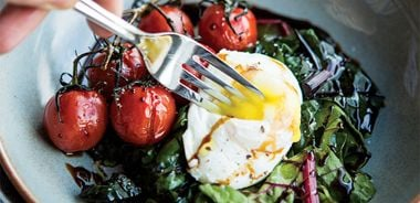 Poached Eggs with Balsamic Glaze, Swiss Chard, and Roasted Tomatoes