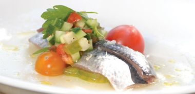 Marinated Sardines with Cucumber and Heirloom Tomatoes