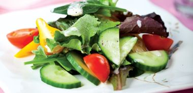 Plated Green Salad with Sweet and Tangy Creamy Dressing