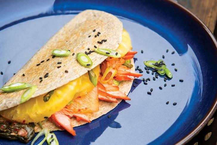 Salmon Kimchi Quesadilla