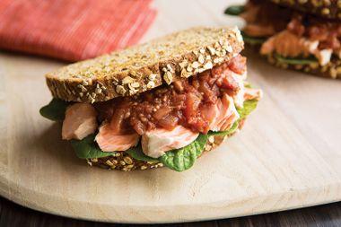 Poached Salmon Sandwich with Tomato Chutney