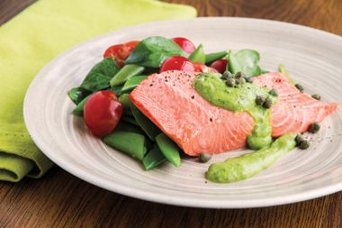 Poached Salmon with Avocado Chive Cream and Sugar Snaps