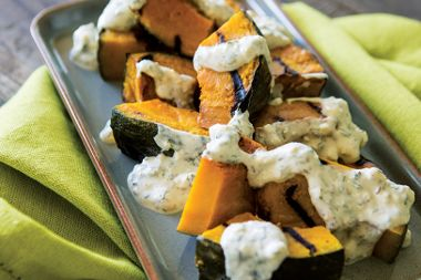 Grilled Pumpkin with Mexican Cheese Sauce