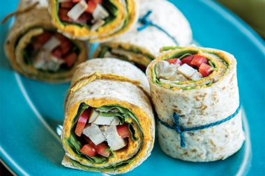 Roasted Carrot Hummus Chicken Wraps