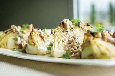 Roasted Cabbage with Walnut Mustard Dressing