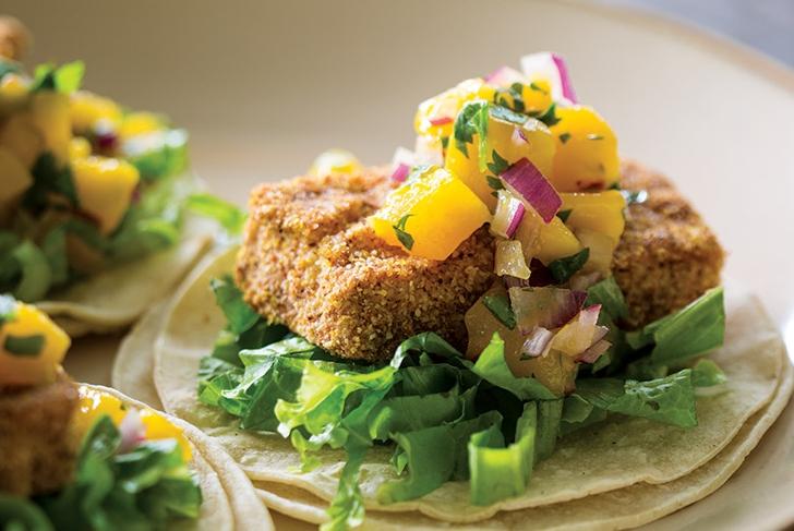 "Cornmeal Tofu ""Fish"" Tacos with Mango Red Onion Relish"