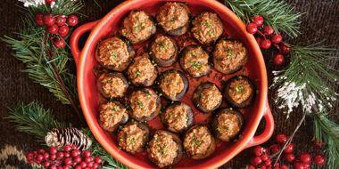 Almond Tamari Stuffed Mushrooms