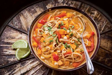 Spicy Thai Coconut Soup with Kamut Noodles, Sweet Potato, and Lime