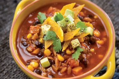 Tortilla Soup with Spelt, Orzo, Corn, and Black Beans