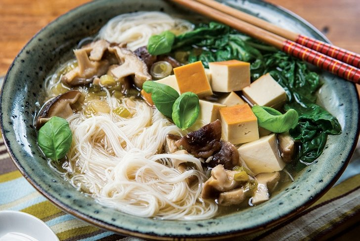 Fragrant Tofu and Bok Choy Pho with Brown Rice Vermicelli