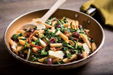 Warm Mediterranean Shredded Collards with Penne and Tomatoes