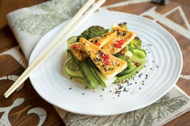 Broiled Miso Butter Tofu with Sesame Broccoli and Cucumber Noodles