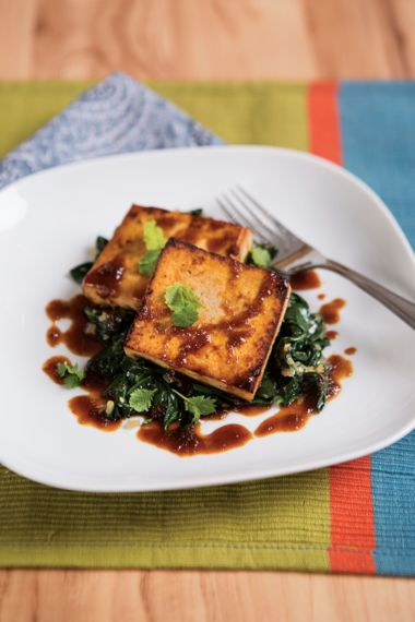 Maple Tofu Steaks with Wilted Spinach