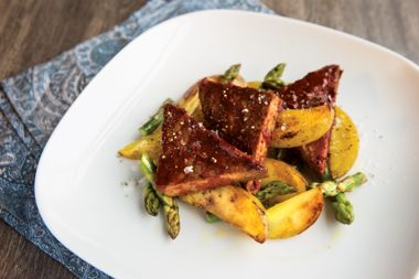 Barbecue Tempeh with Lemony Potatoes and Asparagus