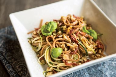 One Pot Tuscan Spelt and Zucchini Noodles