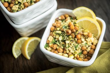 Parsley Millet with Cumin and Cayenne-Roasted Chickpeas