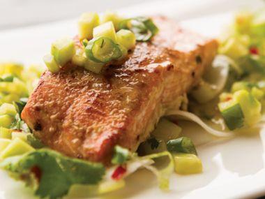 Soy Miso Glazed Salmon with Diakon Salsa