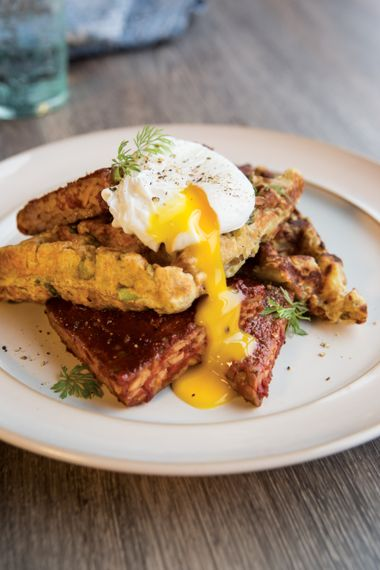 Lemony Waffle Stacks with Barbecue Tempeh and Poached Eggs